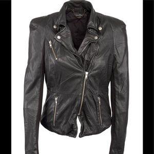 Muubaa fitted leather biker jacket